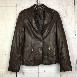 Marc New York Womens Leather Jacket Brown Size S